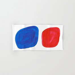 Mid Century Vintage Abstract Minimalist Colorful Pop Art Complementary Colors Blue Red Bubbles Hand & Bath Towel