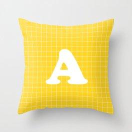 Monogram A on Grid - white on yellow Throw Pillow