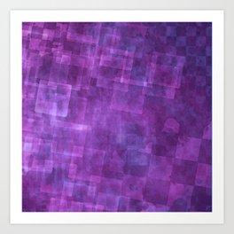 Abstract Purple Squares Digital Painting Art Print