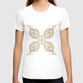 Golden feathers decoration T-shirt