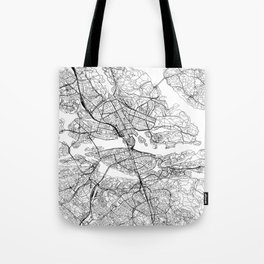 Stockholm White Map Tote Bag