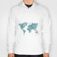 vintage map Hoodies featuring World Map Blue Vintage by City Art Posters