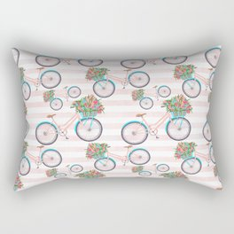 Bicycle with Flowers Painting Rectangular Pillow