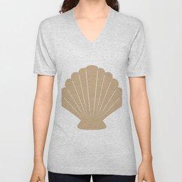 Seashell (Tan & White) Unisex V-Neck