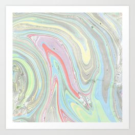 Pink coral mint green aqua watercolor abstract marble pattern Art Print