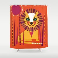 leo Shower Curtains featuring Leo by Shirley Copperwhite