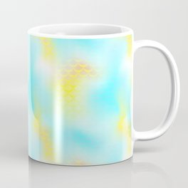 Cyan Blue and Yellow Mermaid Tail Abstraction. Magic Fish Scale Pattern Coffee Mug