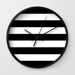 Registration black - solid color - white stripes pattern Wall Clock