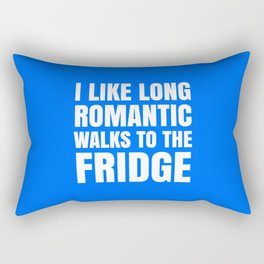 I LIKE LONG ROMANTIC WALKS TO THE FRIDGE (Blue) Rectangular Pillow