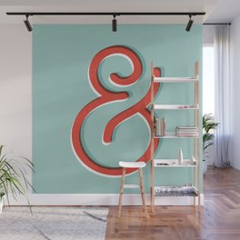 Ampersand red white and green and symbol typography design minimalist home decor wall decor Wall Mural