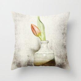 Single Tulip Still Life Throw Pillow