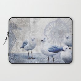 Sea gull ocean mixed media art Laptop Sleeve