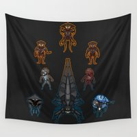mass effect Wall Tapestries featuring Mass Effect 2 Baddies by Vaahlkult