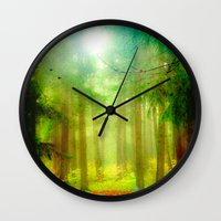 fairy tale Wall Clocks featuring Fairy tale by Armine Nersisian