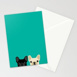 2 French Bulldogs Stationery Cards