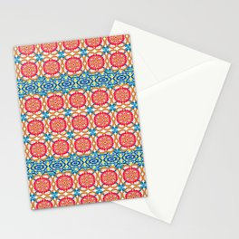 Colorful red blue yellow watercolor moroccan motif Stationery Cards