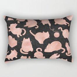 Rose Gold Pink Cats on Black Rectangular Pillow