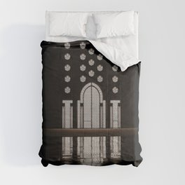 Islamic Architecture Inside Mausoleum Window Geometric Pattern Silhouette Mysterious Comforters