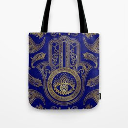 Hamsa Hand  - gold on lapis lazuli Tote Bag