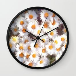 Spring Daisy Wildflower Watercolor Wall Clock
