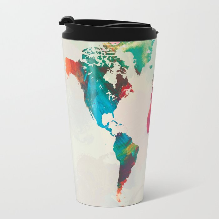 Watercolor world map travel mug by champagne society6 watercolor world map travel mug gumiabroncs Image collections