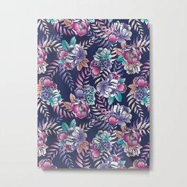 navy floral Metal Print