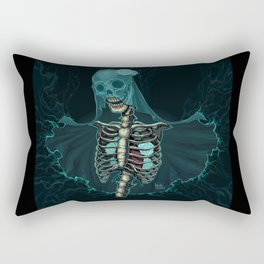Skeleton with veil and white roses Rectangular Pillow