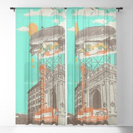 CHICAGO DOG Sheer Curtain