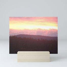 Pink Skies Over the Salish Sea and Pines Mini Art Print