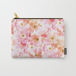 Abstracted Full Blown Roses in Candy Pink and Cream Carry-All Pouch