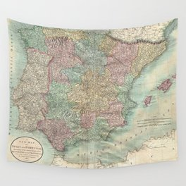 Vintage Map of Spain and Portugal (1801) Wall Tapestry
