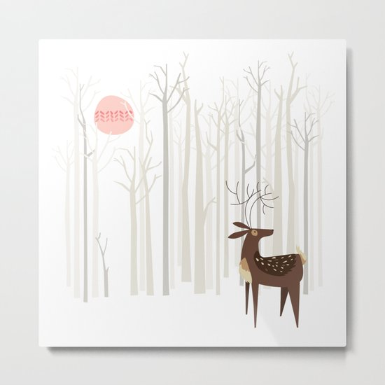 Reindeer of the Silver Wood Metal Print