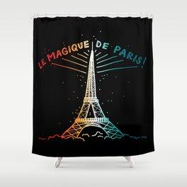 Le Magique De Paris (the magic of...) French Artwork, Eiffel Tower Print Shower Curtain
