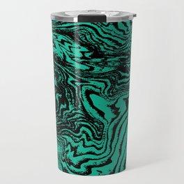 Marble circle minimal design suminagashi japanese marbling minimalist art jade Travel Mug