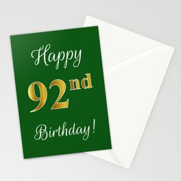 """Elegant """"Happy 92nd Birthday!"""" With Faux/Imitation Gold-Inspired Color Pattern Number (on Green) Stationery Cards"""