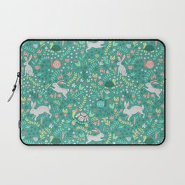 Spring Pattern of Bunnies with Turtles Laptop Sleeve
