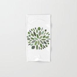 Mid-Century Green Leaves Hand & Bath Towel