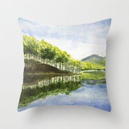 Tuyen Lam Lake in Da Lat Throw Pillow