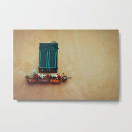 A window with green opersianas and pots with flowers. on an old, peeling salmon-colored wall. Metal Print