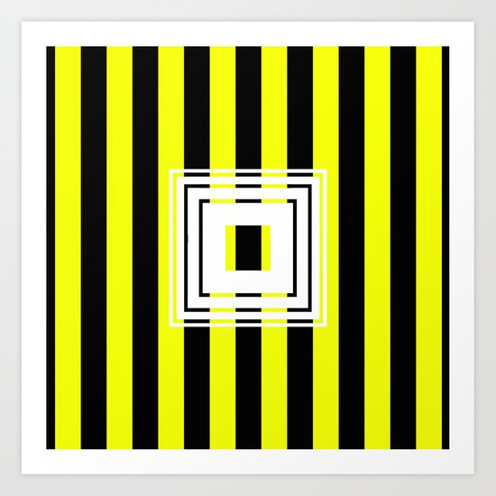 Bumblebee Box - Geometric, bold, yellow and black striped design Art Print