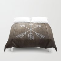 coachella Duvet Covers featuring 3 Cross Arrows by Joel M Young