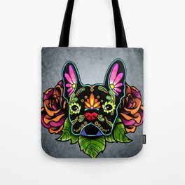 French Bulldog in Black - Day of the Dead Bulldog Sugar Skull Dog Tote Bag