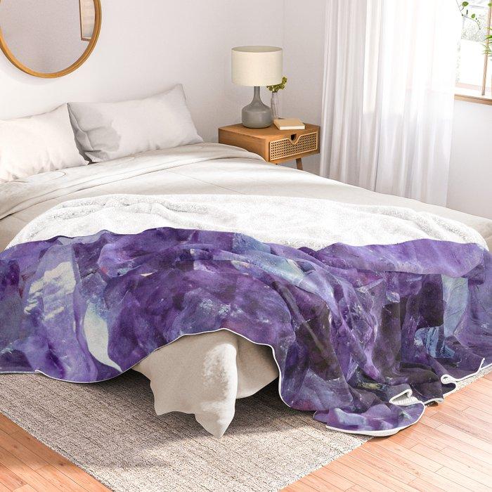 Amethyst Crystals Throw Blanket