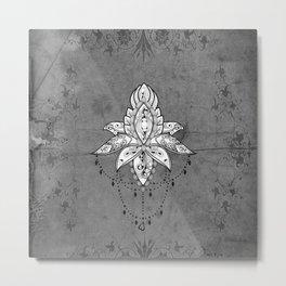 Wonderful lotus, zentangle design Metal Print