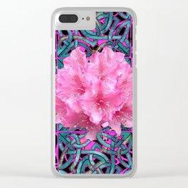Pink Flowers Cluster Art Nouveau Nature Clear iPhone Case