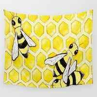 "bees Wall Tapestries featuring ""Bees"" by Nicole Jolley"