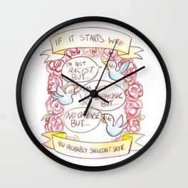 How To Be A Decent Person - Birds Wall Clock