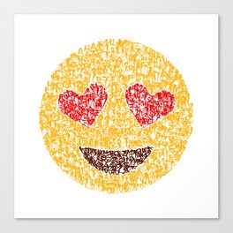 Emoji Calligraphy Art :Smiling face with heart-eyes Canvas Print