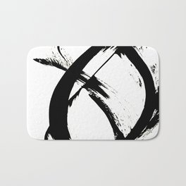 Brushstroke 7: a minimal, abstract, black and white piece Bath Mat