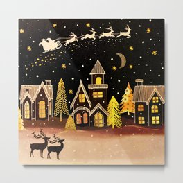 Gold Christmas Village Deer Winter Night  Metal Print